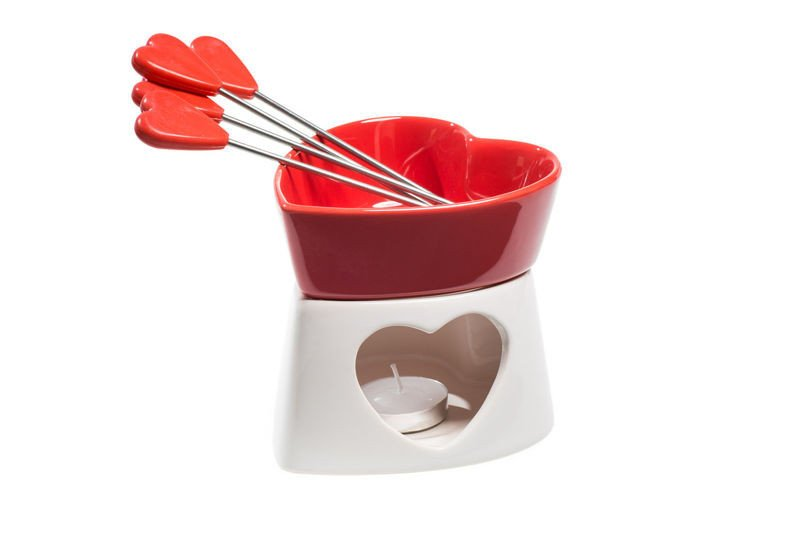 Chocolate fondue red<br>porcelain