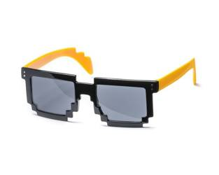 8 bit pixel sunglasses - yellow