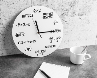 Math clock white