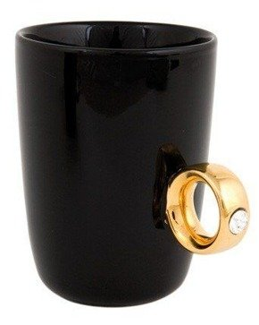 Ring mug black - golden ring