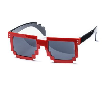 8 bit pixel sunglasses - red
