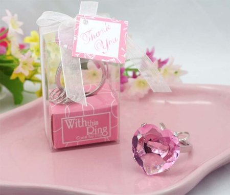 Diamond key ring HEART - pink