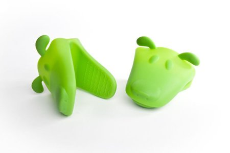 Silicone mitt dog head - GREEN