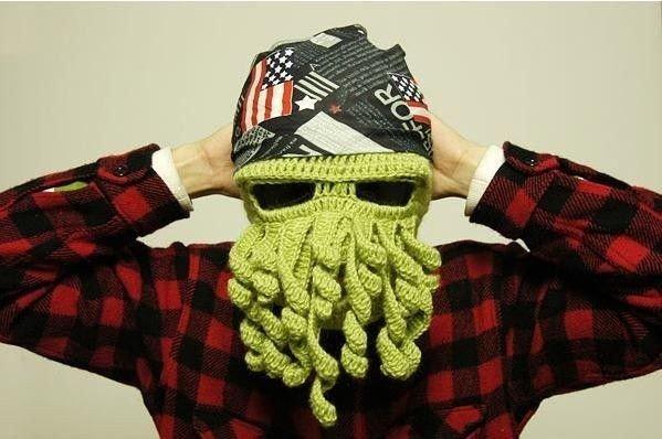 Pletená čepice kukla chobotnice zelená
