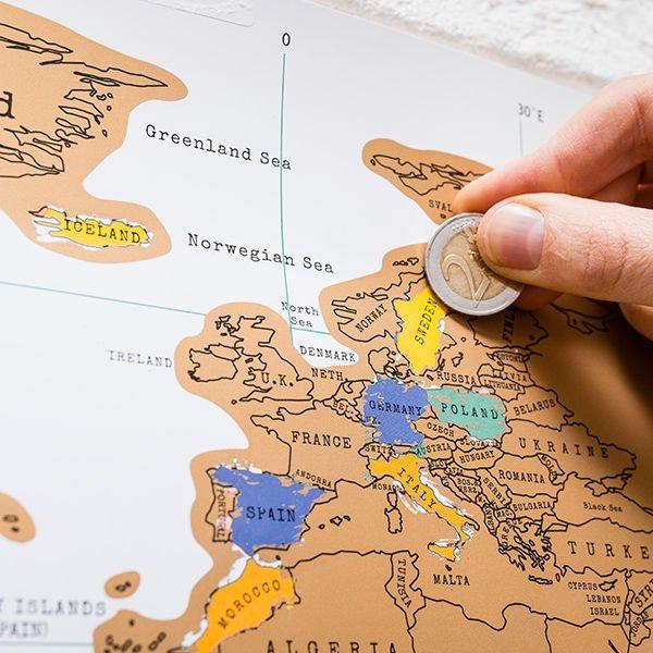 Stírací mapa světa anglická verze