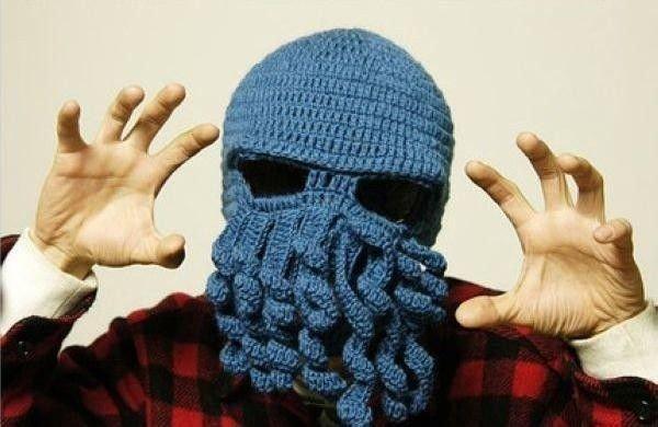 Pletená čepice kukla chobotnice modrá