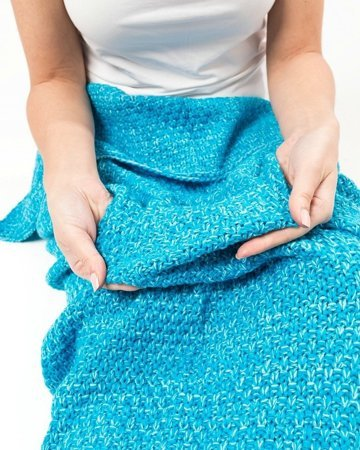 Mermaid tail blanket deluxe - SEA BLUE