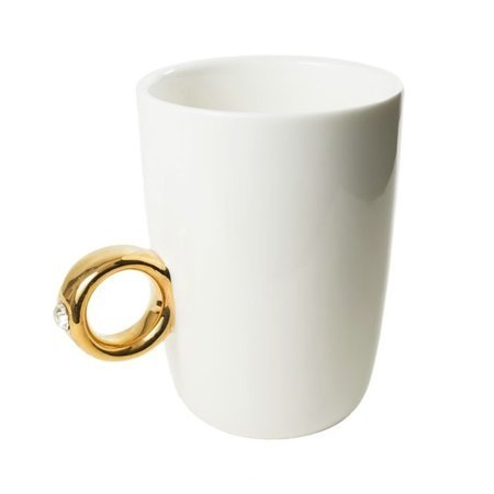 Ring mug white - golden ring