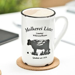 Retro porcelain mug - milk cow