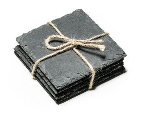 Slate stone coasters 4 pcs set