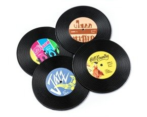 Vinyl retro coasters 4 pcs set