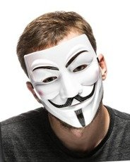 Anonymous mask, Guy Fawkes, V for Vendetta mask - WHITE