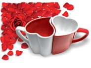 Romantic mugs red-white