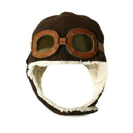 Pilot hat for kids - brown